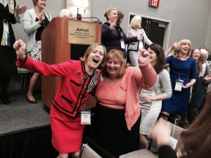 State Conference Chair Patty Bogaty Schned and Kathi Chulick, Mission Canyon Chapter enjoy the conga line break!